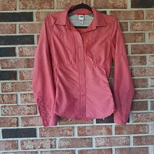 The North Face Pink Long Sleeve Button Front Top
